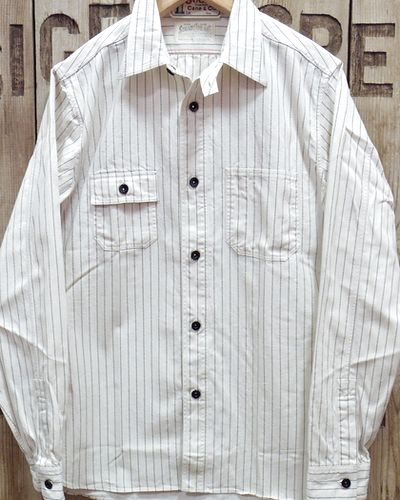 "画像1: Sugar Cane ""8.5oz. WHITE WABASH STRIPE WORK SHIRT"""