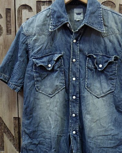 画像1: FOB FACTORY -8oz. DENIM S/S WESTERN SHIRT-