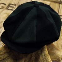 "ADJUSTABLE COSTUME ""Special 2-tone Felt 20's Style Casquette"" BLACK×D.GREEN"