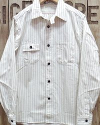 "Sugar Cane ""8.5oz. WHITE WABASH STRIPE WORK SHIRT"""