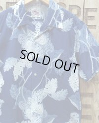 "Duke Kahanamoku -""INDIGO MONSTERA"" HAWAIIAN SHIRT-"