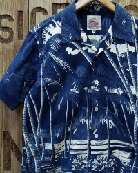"Duke Kahanamoku -""INDIGO COCONUTS PALMS"" S/S COTTON OPEN SHIRT-"
