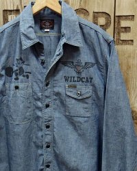 "TOYS McCOY -MILITARY CHAMBRAY WORK SHIRT ""FOLLOW THE ATTACK""-"