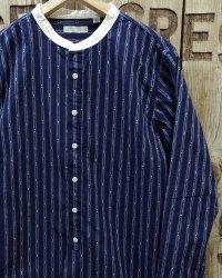 FULLCOUNT -CLASSIC STRIPE BAND COLLAR SHIRT-