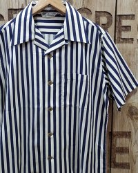 FULLCOUNT -INDIGO STRIPE RAYON SHIRT-