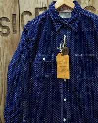 "SUGAR CANE / FICTION ROMANCE -4.5oz. INDIGO ""CASINO STRIPE"" WORK SHIRT-"