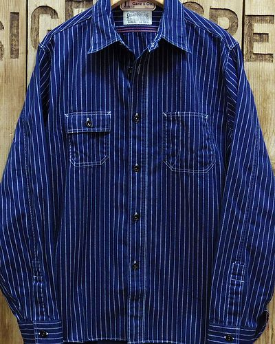 "画像1: Sugar Cane ""8.5oz. WABASH STRIPE WORK SHIRT"""