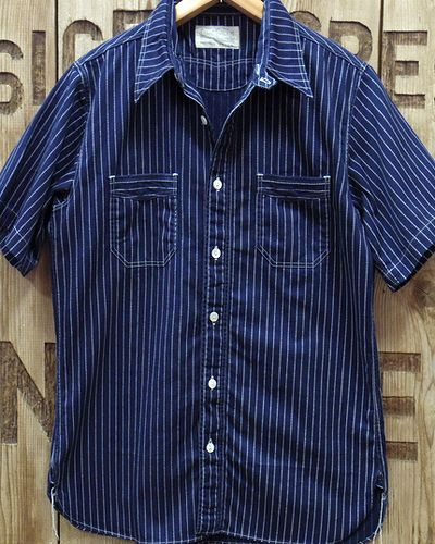 画像2: SUGAR CANE FICTION ROMANCE -8.5oz. WABASH STRIPE S/S WORK SHIRT-