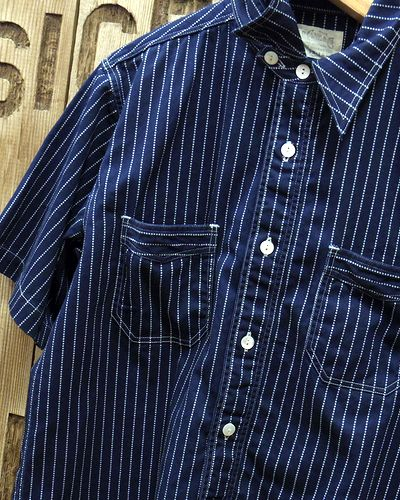 画像3: SUGAR CANE FICTION ROMANCE -8.5oz. WABASH STRIPE S/S WORK SHIRT-