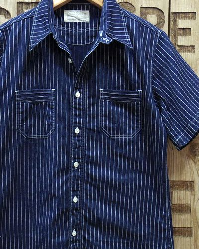 画像1: SUGAR CANE FICTION ROMANCE -8.5oz. WABASH STRIPE S/S WORK SHIRT-