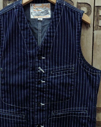 "画像1: Sugar Cane ""9oz. WABASH STRIPE WORK VEST"""