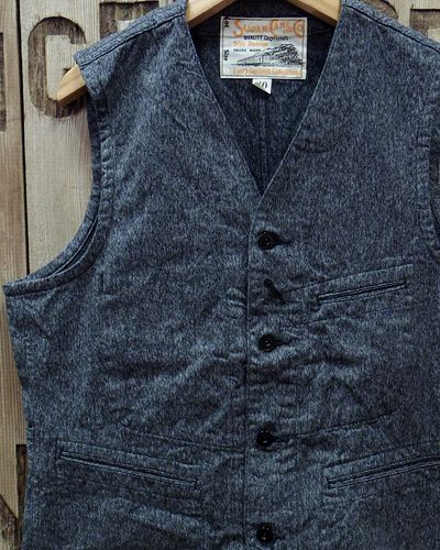 "画像1: Sugar Cane ""9oz. BLACK COVERT WORK VEST"""
