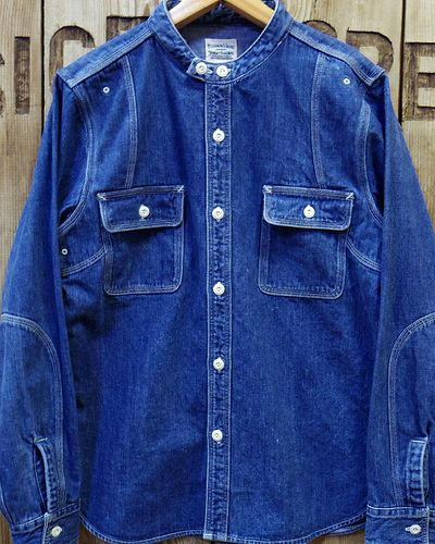 "画像1: Pherrow's ""16W-770NC"" BAND COLLAR WORK SHIRT"