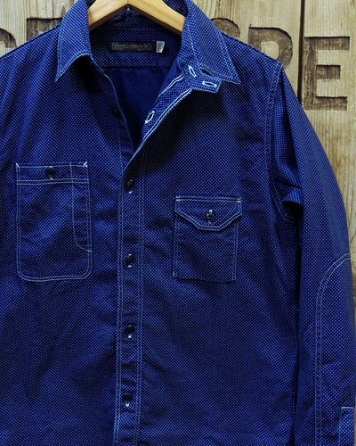 画像1: FULLCOUNT -CIGARETTE POCKET WORK SHIRT (INDIGO WABASH)-