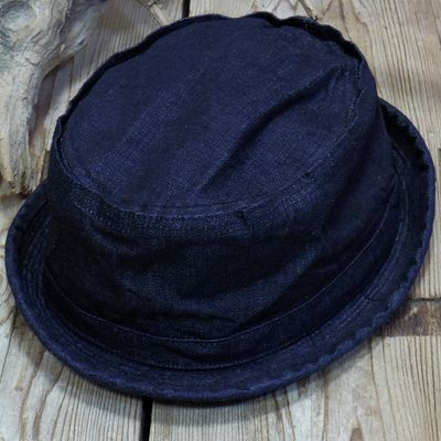 画像1: Sugar Cane -10oz. INDIGO DENIM PORKPIE HAT-