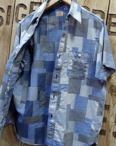 画像3: Sugar Cane -JACQUARD PATCHWORK S/S WORK SHIRT-