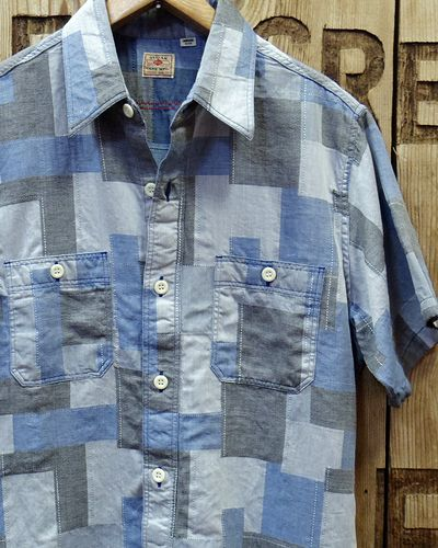 画像1: Sugar Cane -JACQUARD PATCHWORK S/S WORK SHIRT-
