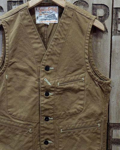 画像1: SUGAR CANE -13oz. BROWN DUCK WORK VEST-