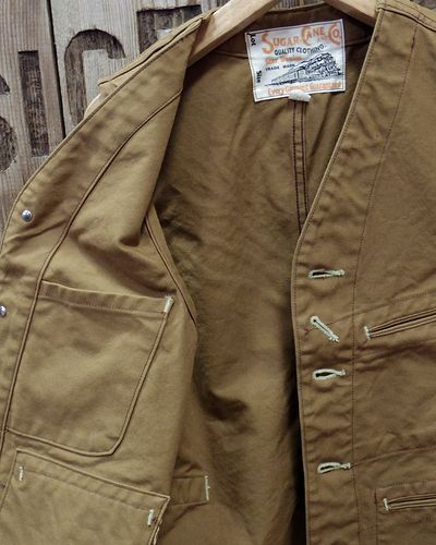 画像3: SUGAR CANE -13oz. BROWN DUCK WORK VEST-