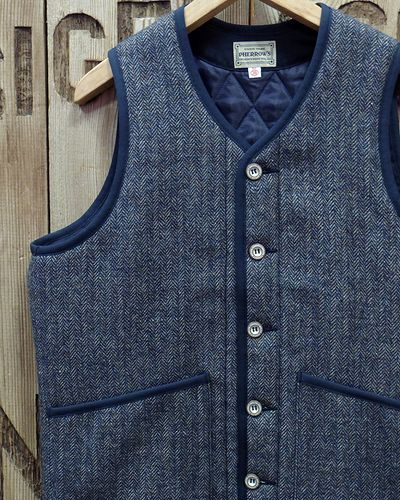 """画像1: Pherrow's """"19W-PWPV1"""" Wool/Linen Melange HB Quilt Vest"""