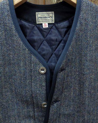 """画像3: Pherrow's """"19W-PWPV1"""" Wool/Linen Melange HB Quilt Vest"""